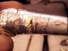Antika Engelska knivhandtag pistolmodell skall lagas